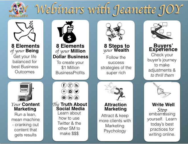 Infographic of Jeanette JOY Fisher's Webinars